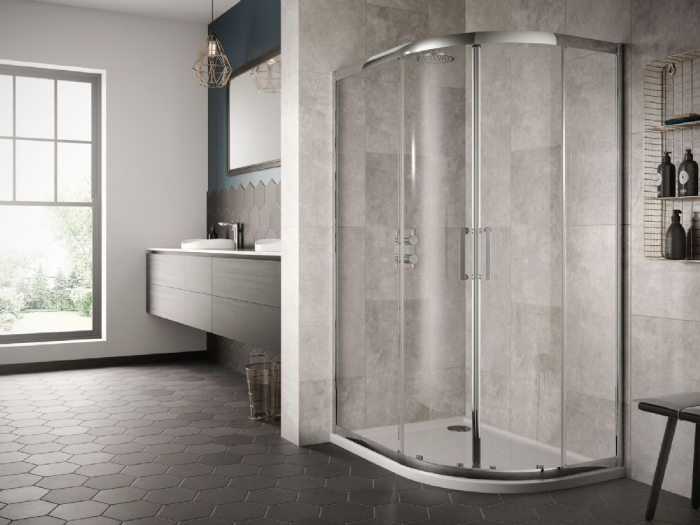 Sommer 8 Double Door Offset Quadrant Shower Enclosure- Various Sizes & Tray Option